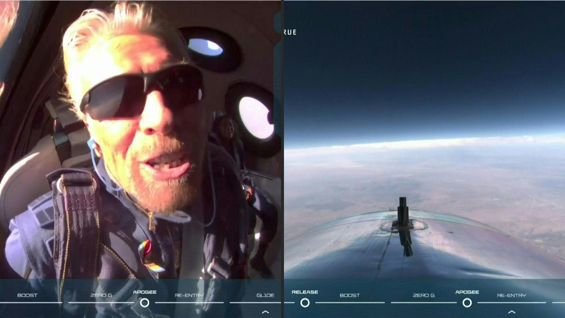 Richard Branson cumple su sueño: llega al espacio en su propio avión