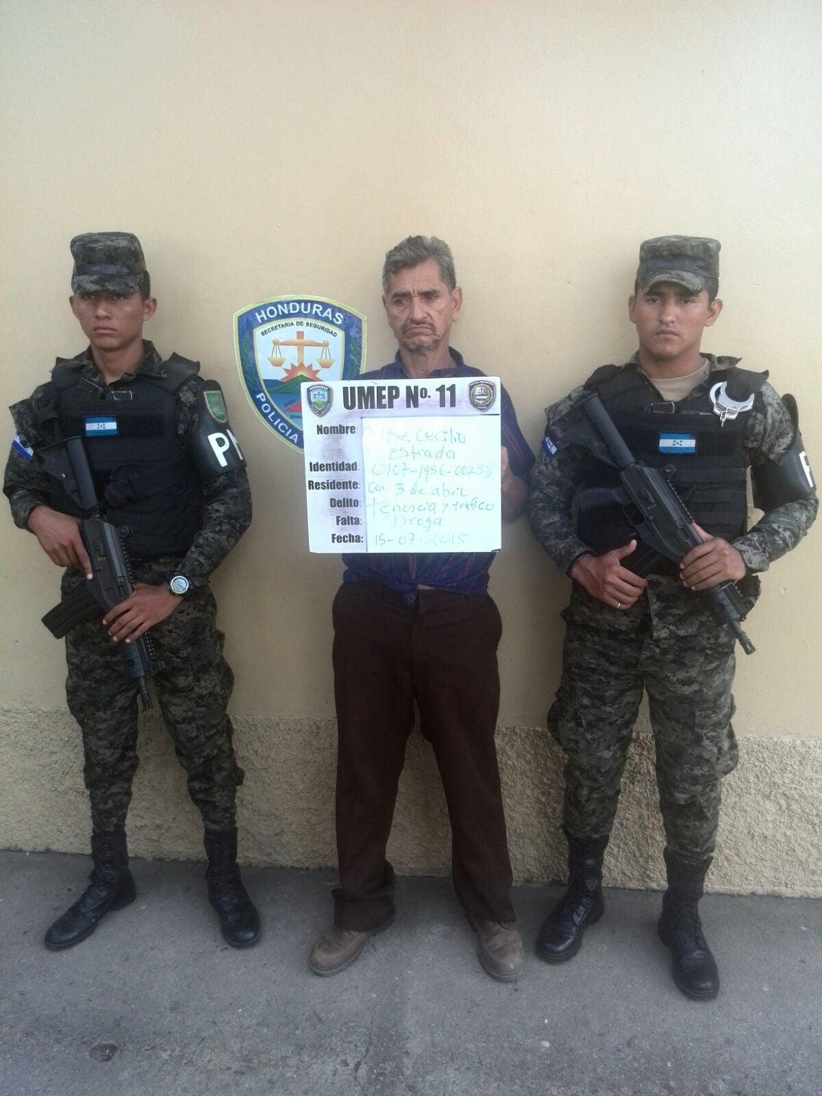 Honduras: Capturan a señor acusado de posesión y tráfico de drogas