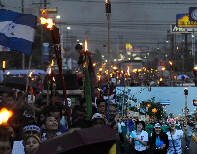 Honduras: Lluvia no apagó la luz de las antorchas