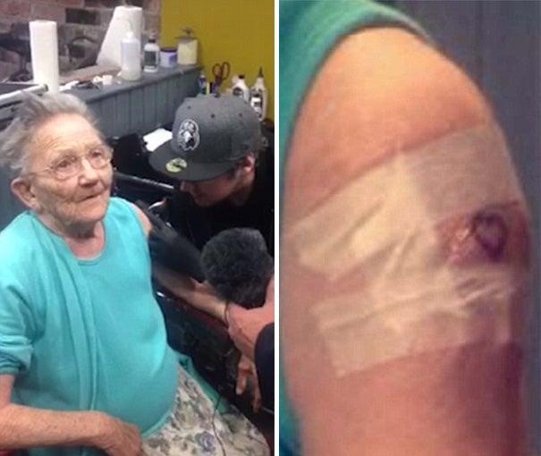 Una anciana se escapa del asilo para hacerse un tatuaje