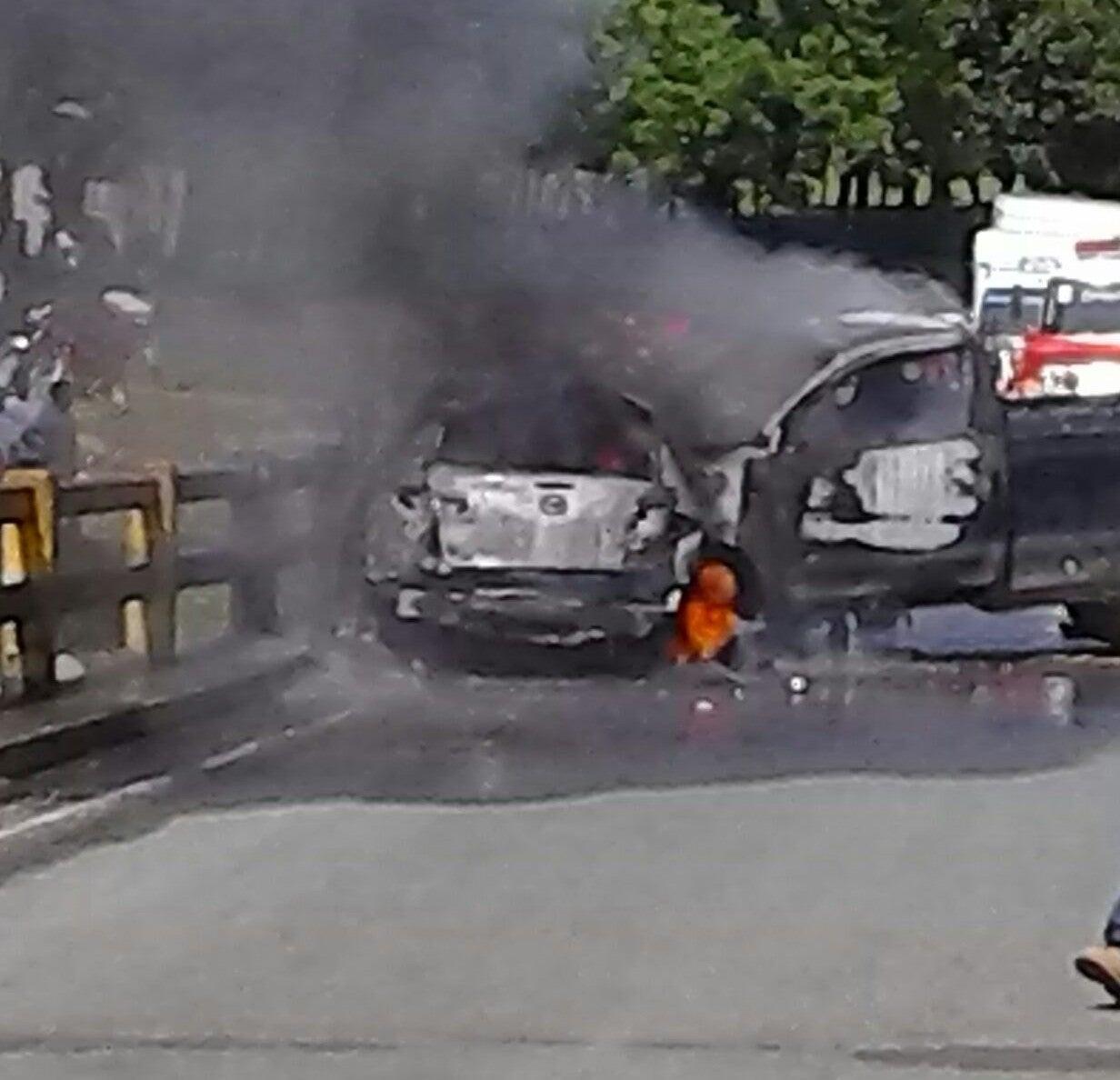 La Masica, Honduras: Fémina muere calcinada en aparatoso accidente vial
