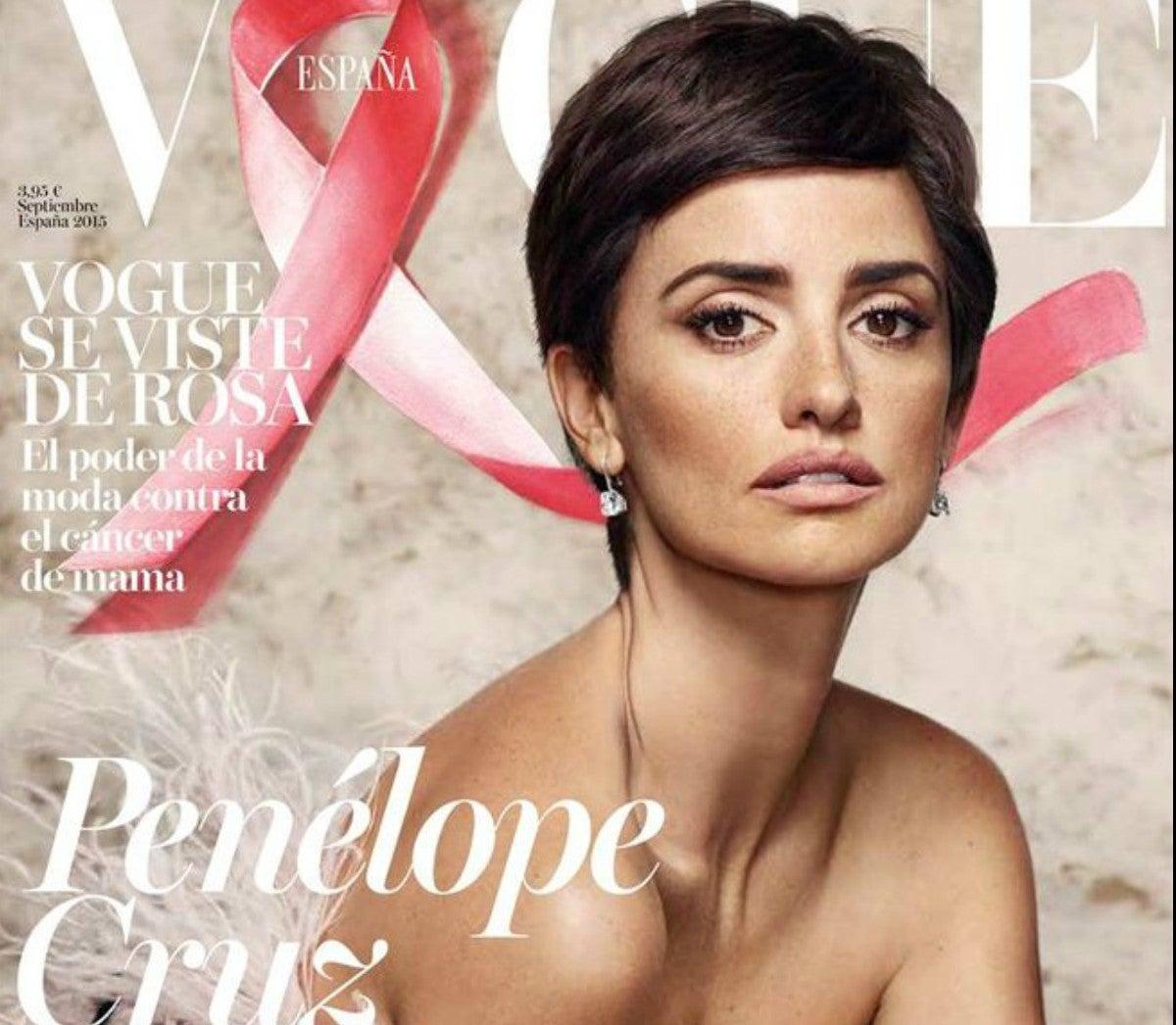 Penélope Cruz, con pelo muy corto contra el cáncer de mama
