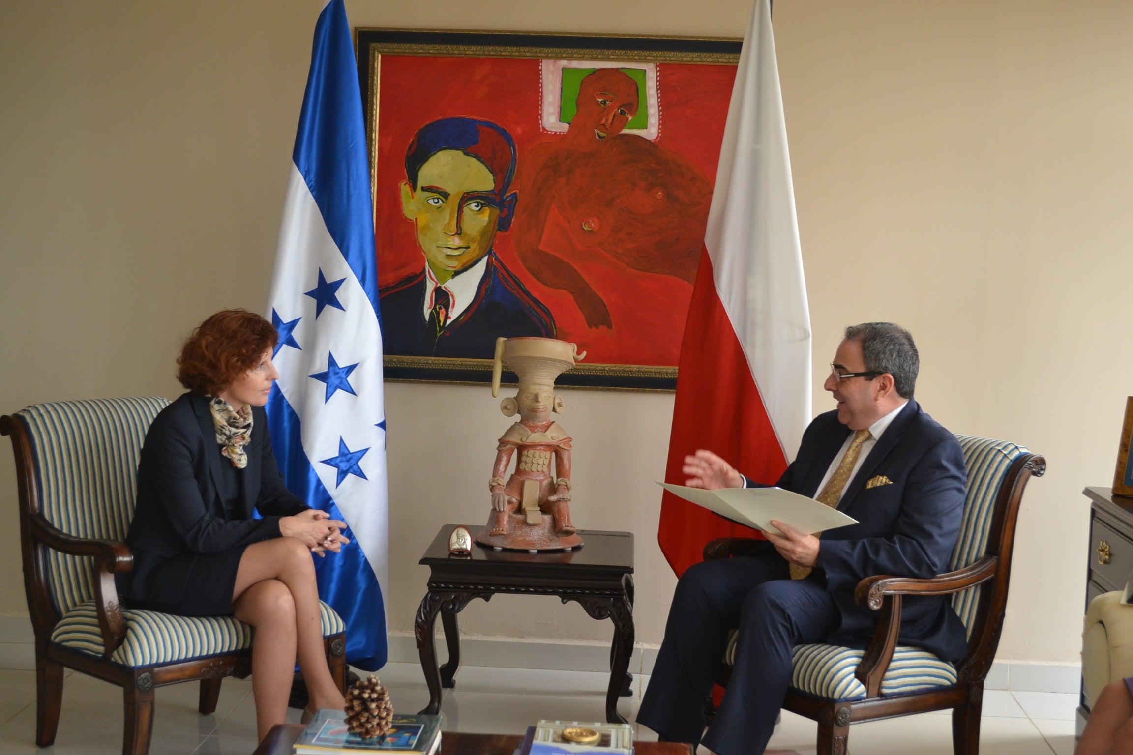 Vicecanciller Roberto Ochoa Madrid recibió las copias de estilo de Embajadora de Polonia
