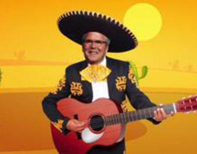 Donald Trump tuitea imagen racista de Jeb Bush vestido de mexicano