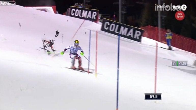 VÍDEO: Un drone casi ocasiona la muerte de un esquiador
