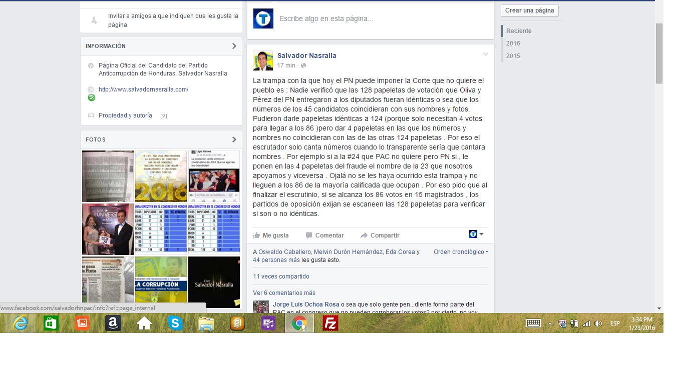 Salvador Nasralla lanza acusación en su cuenta de facebook
