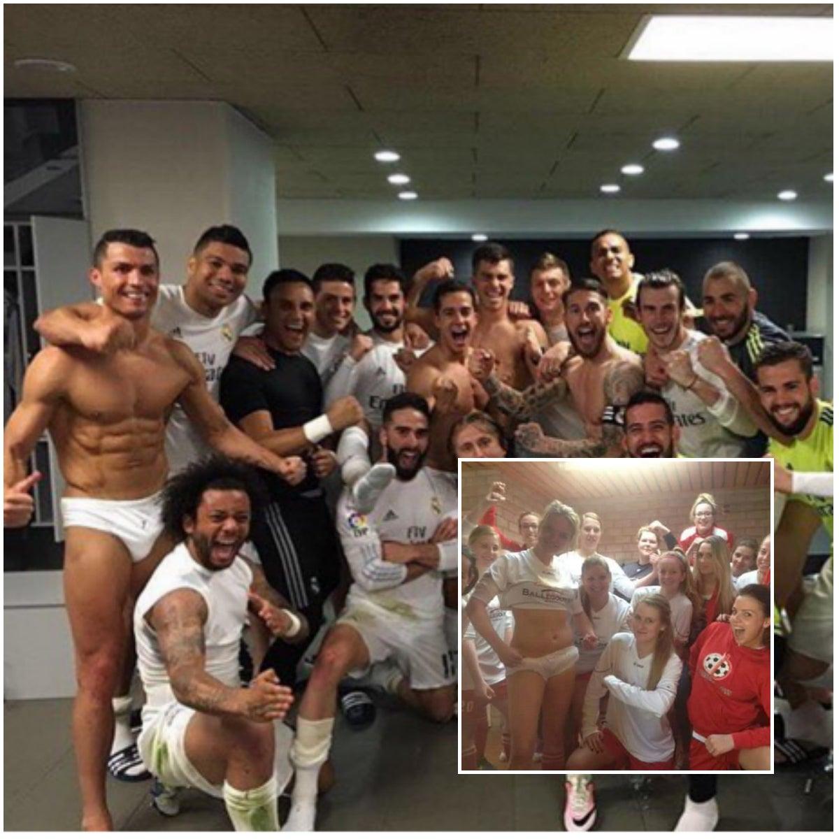 Equipo de fútbol femenino celebra al estilo del Real Madrid