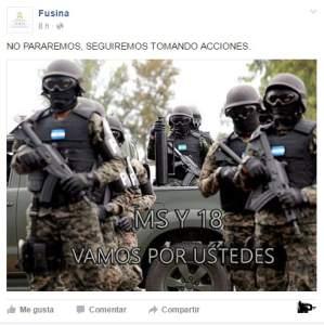 En Facebook: FUSINA manda fuerte mensaje a las maras