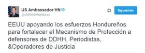 El embajador de los EE.UU. posteó  este mensaje en su cuenta de Twitter.