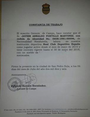 """Javir Portillo mostró este documento que demuestra su vinculo con la """"Maquina"""" hasta Mayo del 2018."""