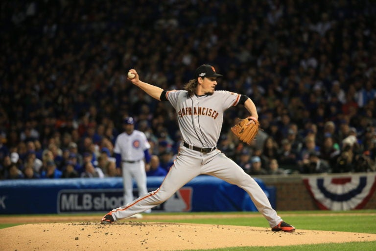 San Francisco Giants starting pitcher Jeff Samardzija (29) pitches against the Chicago Cubs in the first inning of Game 2 of a National League Division Series at Wrigley Field on Saturday, Oct. 8, 2016. (Armando Sanchez/Chicago Tribune)