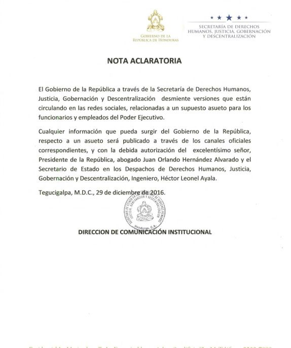 Desmienten asueto de empleados del Poder Ejecutivo de Honduras