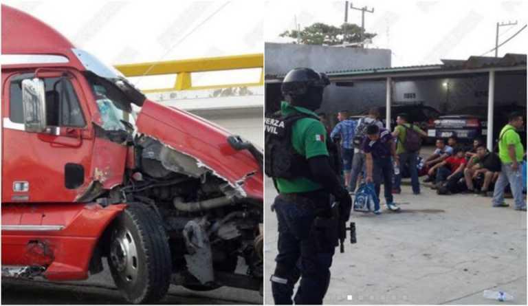 De tráiler refrigerado rescatan a 13 hondureños en Veracruz