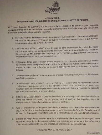 TSC presentó comunicado sobre indicio de enriquecimiento ilícito