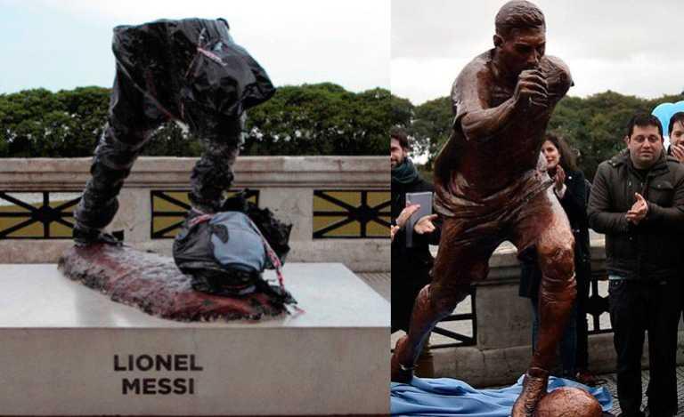 ¡Destruyen estatua de Lio Messi en Buenos Aires!