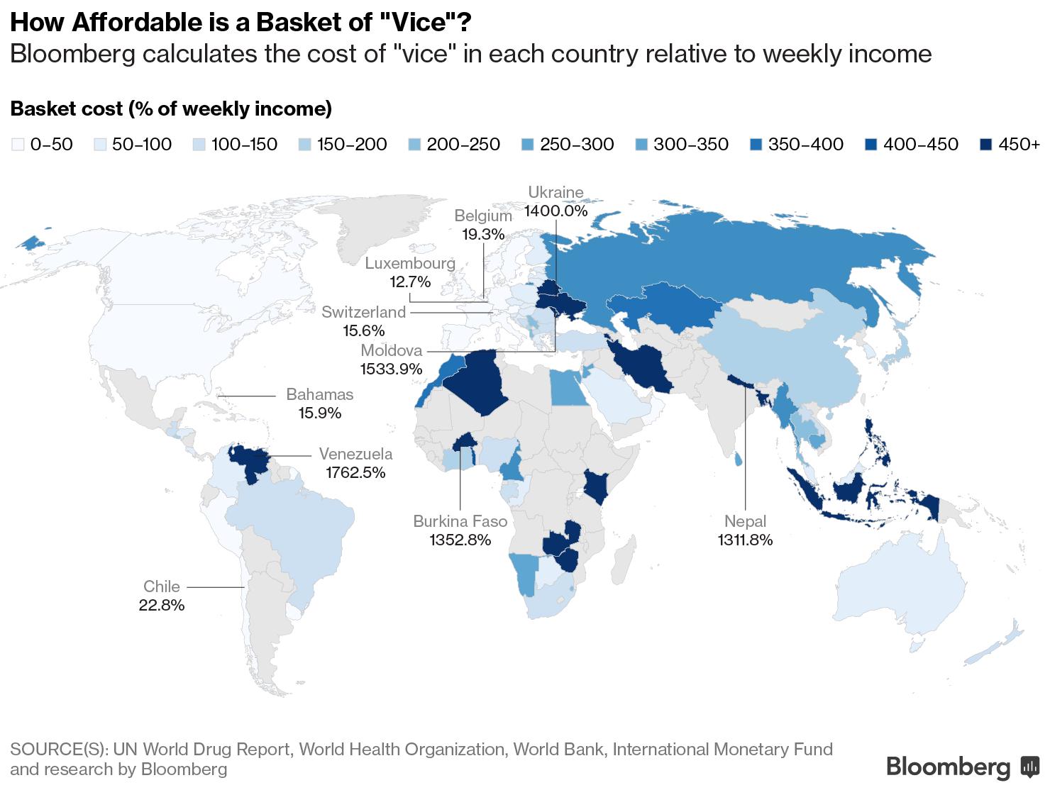 """Asimismo, qué tan caro es una """"canasta de bienes"""" en algunos países."""