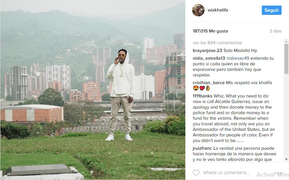 La fotografía posteada en el Instagram del rapero.