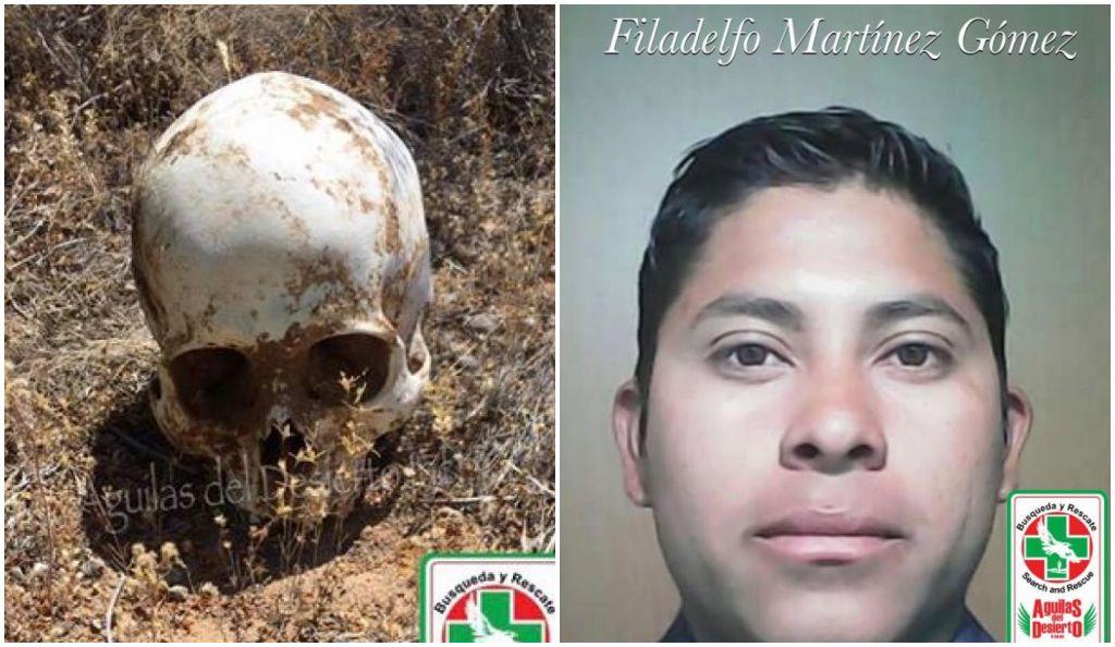 esqueleto de un joven hondureño