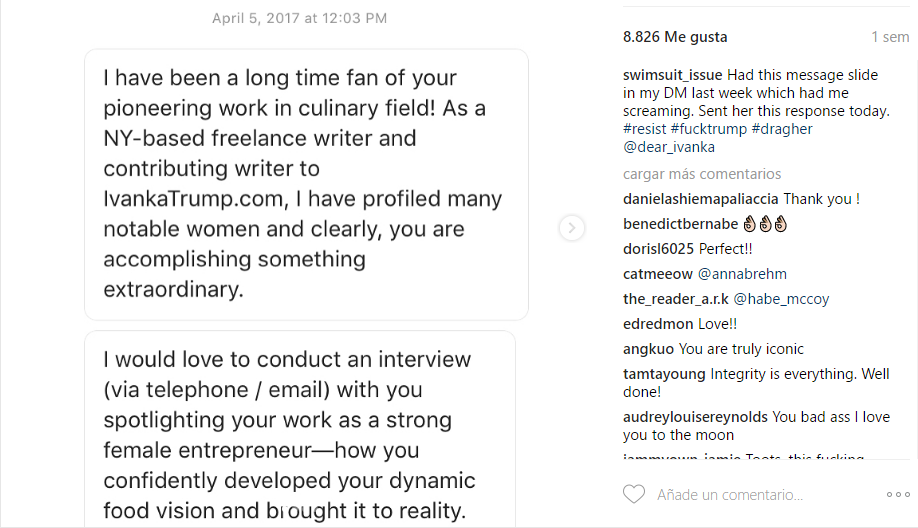 Carta enviada a la chef Dimayuga.