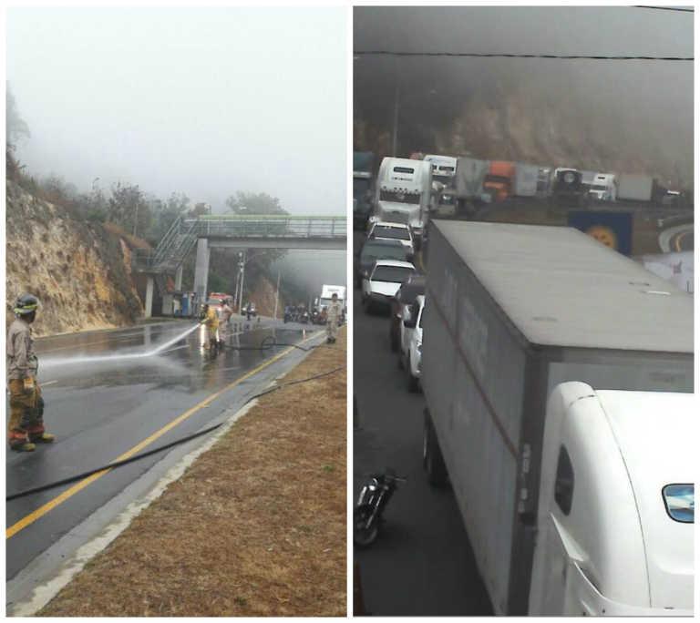 Derrame de aceite provoca colisión múltiple en carretera CA-5