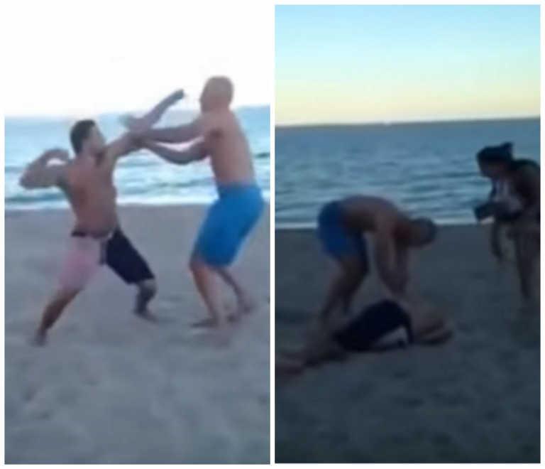 Padre noquea hombre ebrio que acosaba a sus hijas en la playa