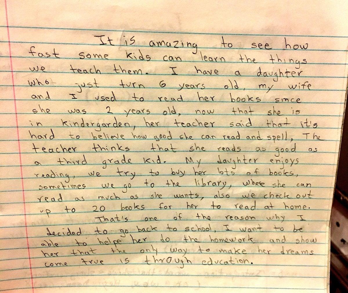 La carta fue escrita como una de sus tareas de inglés.