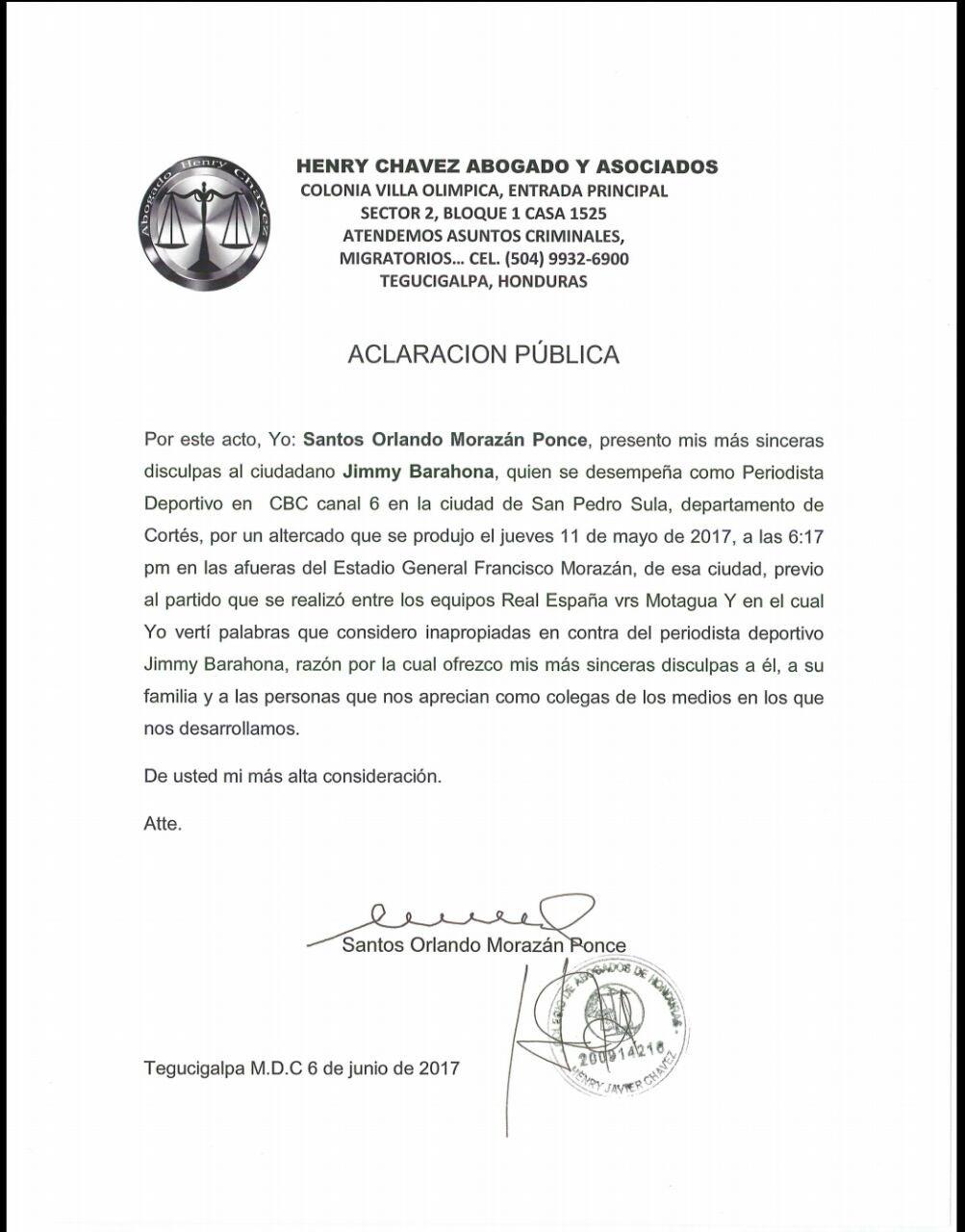 Aclaración público de Orlando Morazán Ponce