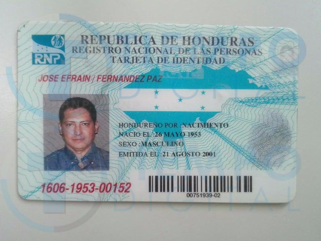 Tarjeta de identidad del ahora occiso en la capital hondureña