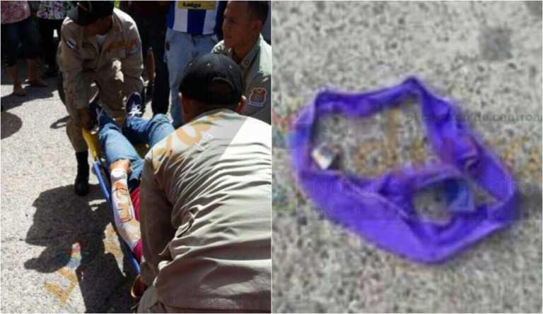 Motorizado se accidenta por calzón volador en La Ceiba