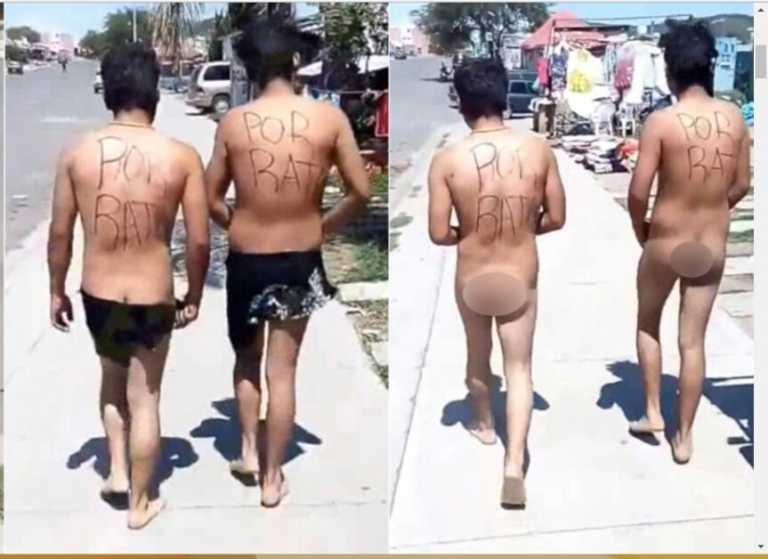 Ciudadanos desnudan y hacen caminar a presuntos ladrones por las calles