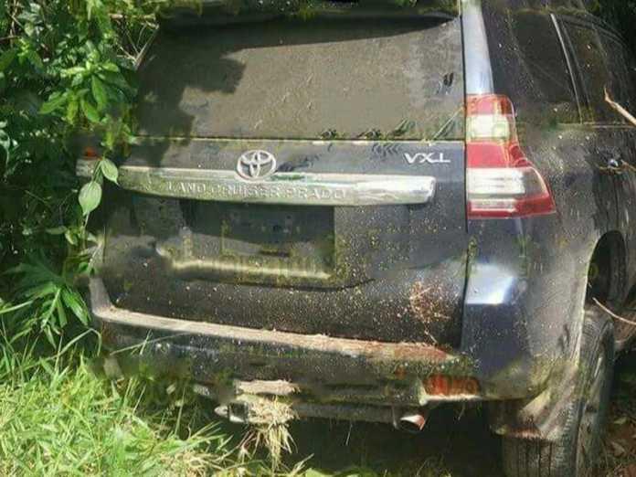 Camioneta en que se trasladaban las tres víctimas de nacionalidad hondureña