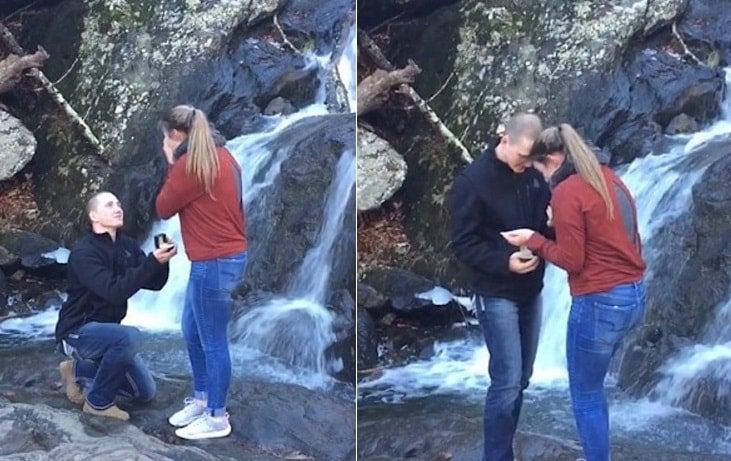 Propuesta de matrimonio termina en desilusión cuando anillo cae por cascada