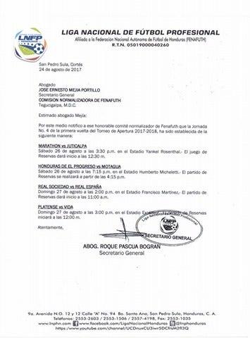 Liga Nacional establece partidos de las reservas por la jornada cuatro del Apertura