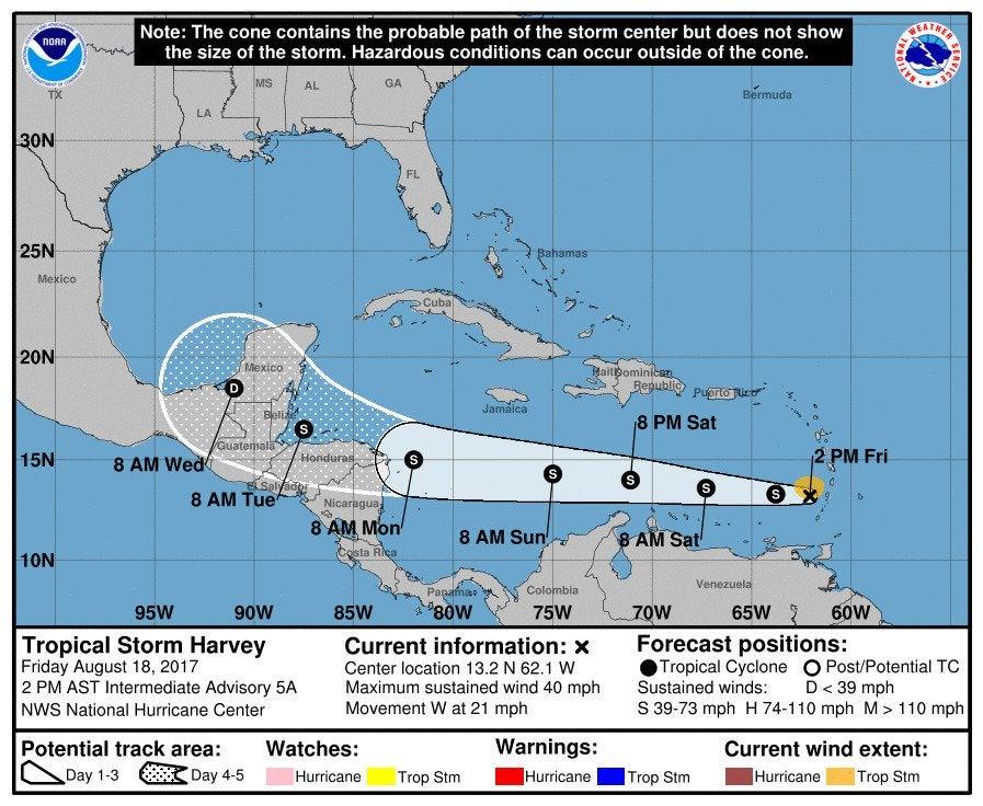 Trayectoria de la Tormenta Tropical Harvey.