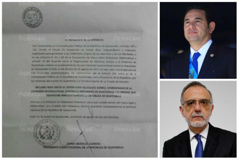 Esto dice la carta con que Jimmy Morales declara «non grato» a Iván Velásquez
