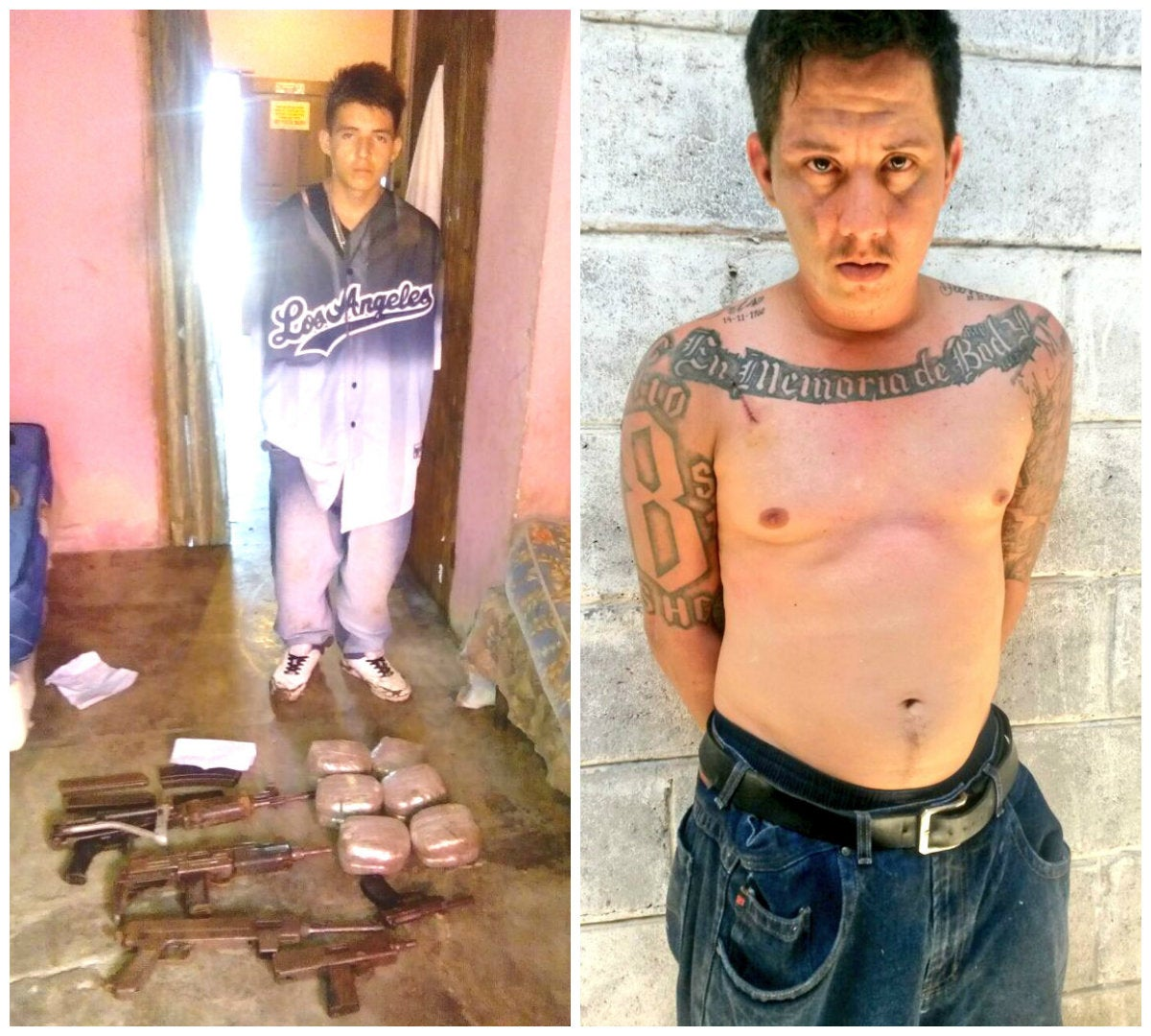 """Izquierda: el primer detenido y los decomisos. Derecha: el supuesto """"toro"""" de la Pandilla 18. Ambos supuestos miembros de la misma organización delictiva."""