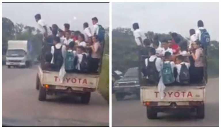 "Hasta la ""pata"" paila de carro trasladando niños en Honduras"