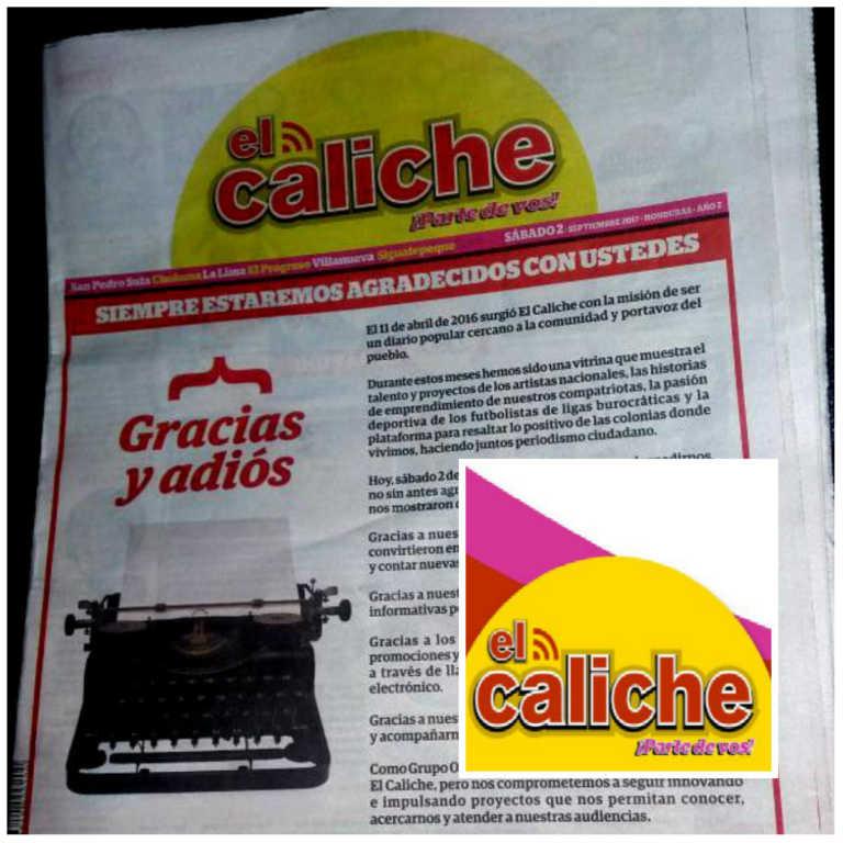 «Gracias y adiós», con estas palabras El Caliche sale de circulación hoy