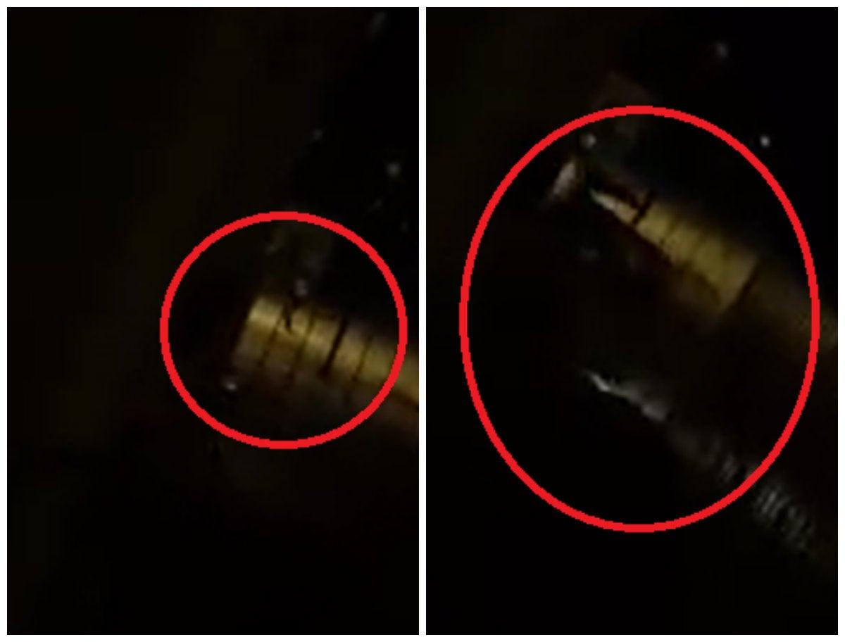 Primera imagen: agente policial llega a la escena con arma en mano y empieza a disparar contra los asaltantes. Segunda imagen: los asaltantes salen huyen en un camión.