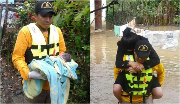 Mujer da a luz en plena evacuación por las inundaciones en Intibucá
