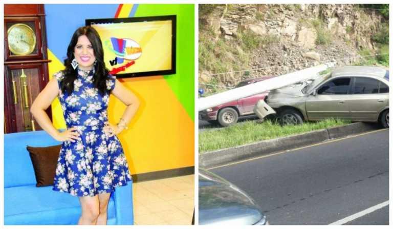 Presentadora de TV sufre aparatoso accidente en la capital