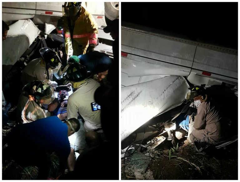 Salvadoreño queda atrapado tras volcamiento en Santa Rosa