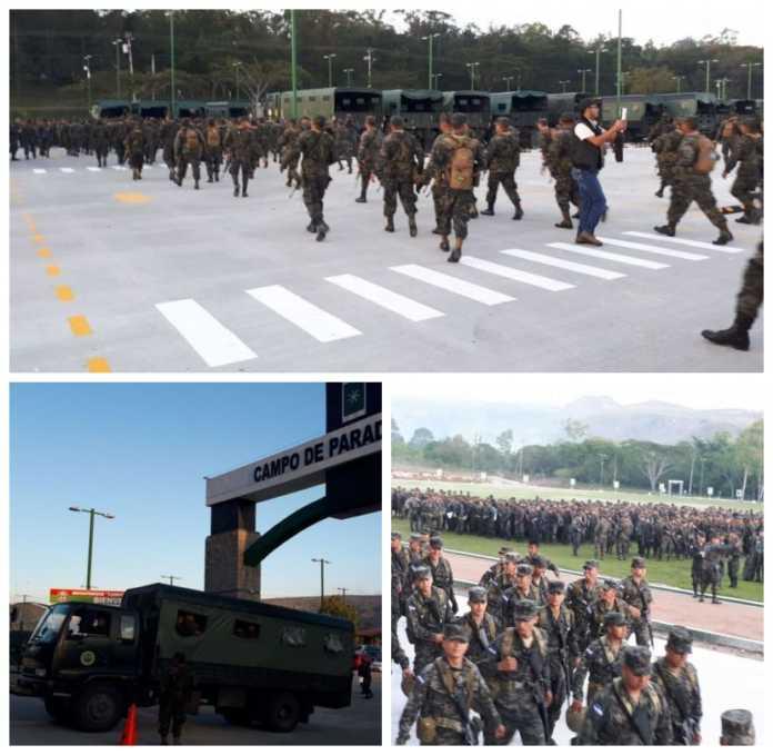 policías y militares en las calles