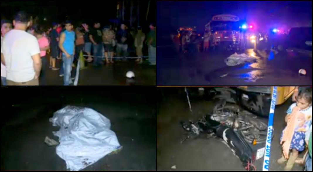 accidente entre bus y moto en Villanueva