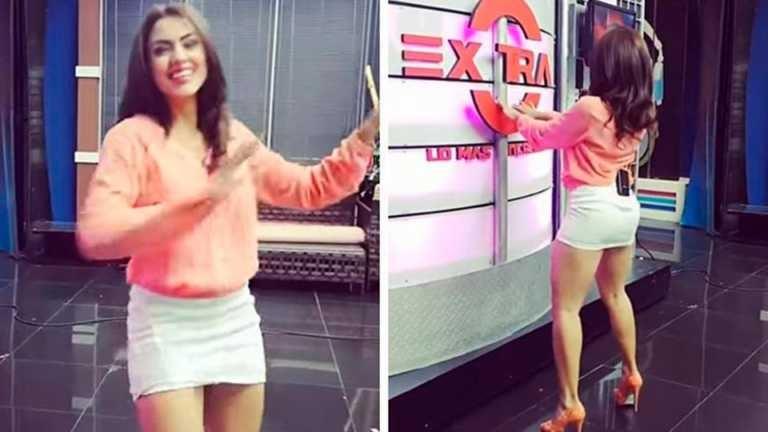 Presentadora de TV realiza atrevido baile durante comerciales y lo graban (VIDEO)