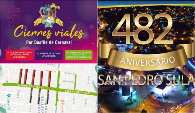 Obstruidas algunas calles de San Pedro Sula por el cierre de la Feria Juniana 2018
