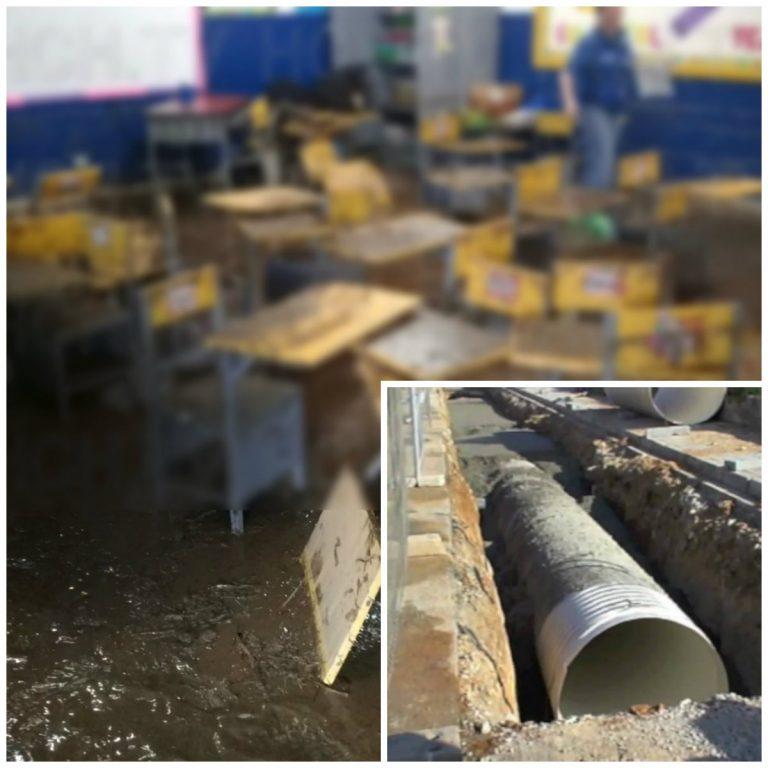 Caso escuela inundada en SPS: trabajan en construcción de colector de aguas lluvias