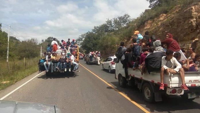 Caravana de migrantes en Guatemala