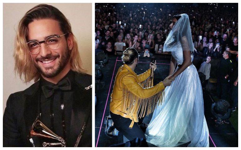 VÍDEO: Vestida de novia, joven propone matrimonio a Maluma durante concierto