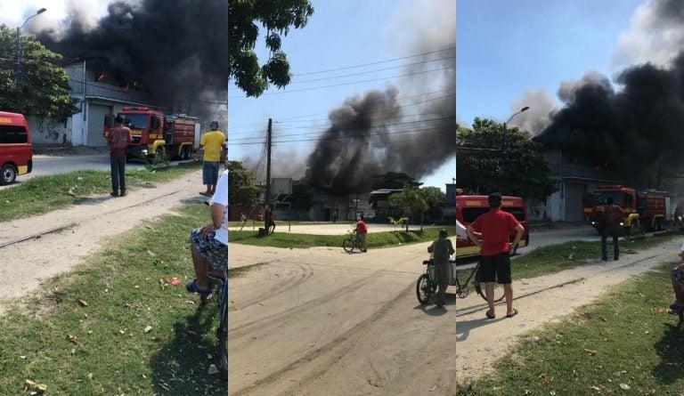 VÍDEO: incendio en locales de empresario en Choloma; un gimnasio y bodega son afectados
